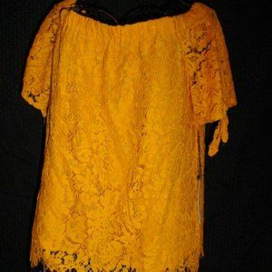 HAUTE MONDE NWT Lace Overlay Tie Sleeves Blouse XL
